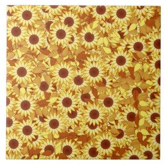 ヒマワリパターン-金ゴールド、黄色および茶色 タイル