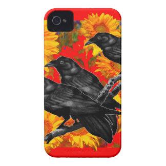 ヒマワリ分野の3羽の黒い鳥 Case-Mate iPhone 4 ケース