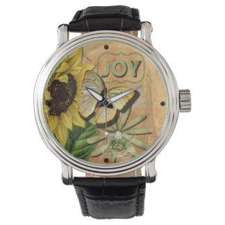 ヒマワリ及びエッフェル塔 腕時計