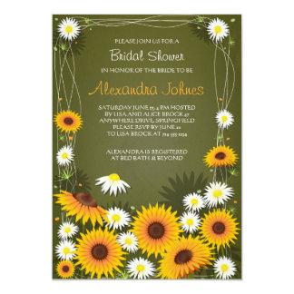 ヒマワリ及びデイジーの花のブライダルシャワーの緑 12.7 X 17.8 インビテーションカード