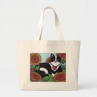 ヒマワリ猫 ラージトートバッグ