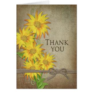 ヒマワリ-ありがとう-ブラウンの質 ノートカード