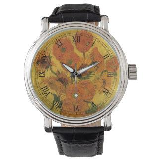ヒマワリ、ファインアートの花が付いているゴッホのつぼ 腕時計