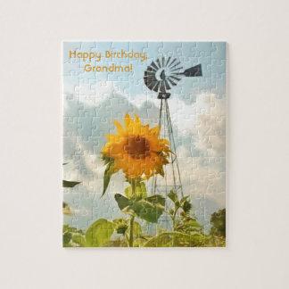 ヒマワリ、風車、雲及び青空 ジグソーパズル