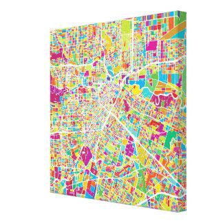 ヒューストンのテキサス州|のネオン地図 キャンバスプリント