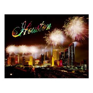 ヒューストンの花火とのテキサス州のスカイライン ポストカード