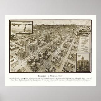 ヒューストンのTXのパノラマ式の地図- 1912年 ポスター