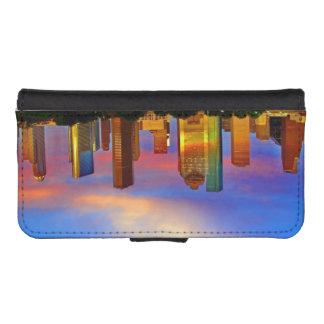 ヒューストンスカイラインの日没の電話財布 iPhoneSE/5/5sウォレットケース