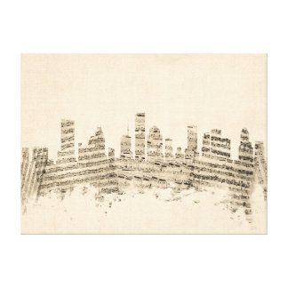 ヒューストンテキサス州スカイラインの楽譜の都市景観 キャンバスプリント