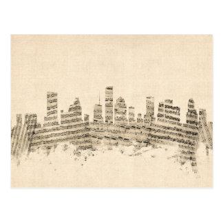 ヒューストンテキサス州スカイラインの楽譜の都市景観 ポストカード