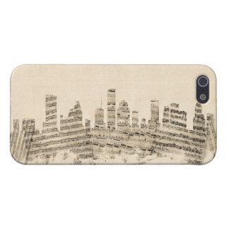 ヒューストンテキサス州スカイラインの楽譜の都市景観 iPhone SE/5/5sケース