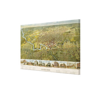 ヒューストンテキサス州(1891年)のヴィンテージの地図 キャンバスプリント
