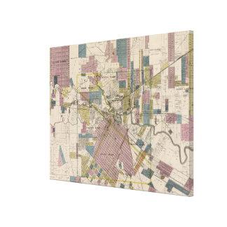 ヒューストンテキサス州(1895年)のヴィンテージの地図 キャンバスプリント