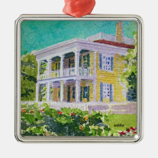 ヒューストン水彩画、1850年のNichols米さくらんぼの家 メタルオーナメント