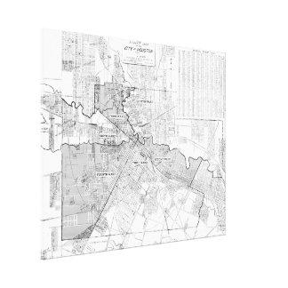 ヒューストン(1920年)のヴィンテージの地図 キャンバスプリント