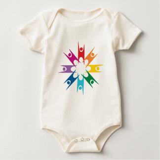 ヒューマニストの虹のリング ベビーボディスーツ