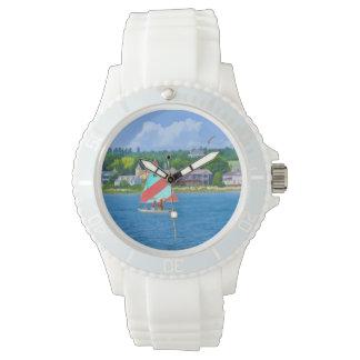ヒューロン湖の甲革ミシガン州の航海 腕時計