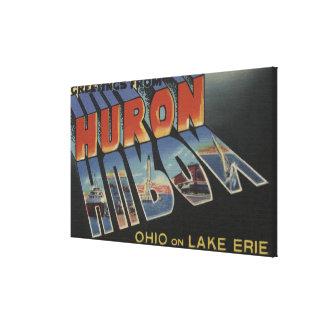 ヒューロン、オハイオ州-エリー湖-大きい手紙場面 キャンバスプリント