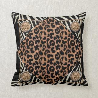 ヒョウおよびシマウマのアメリカ人のMoJoの模造のな枕 クッション