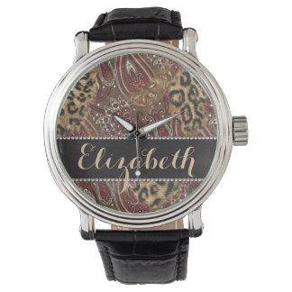 ヒョウおよび個人化なるべきペイズリーパターンプリント 腕時計
