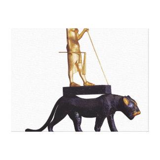 ヒョウに王の小像 キャンバスプリント