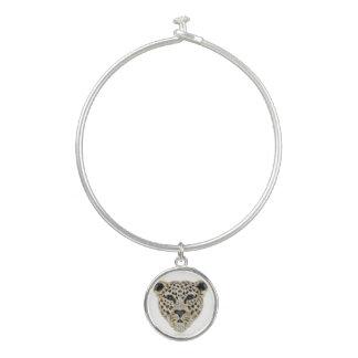 ヒョウのイメージ-円形のチャームが付いている腕輪のブレスレット バングルブレスレット