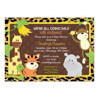 ヒョウのジャングルの友人のベビーシャワー招待状 カード