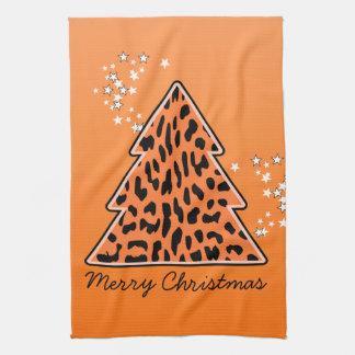 ヒョウのチータのクリスマスツリータオル キッチンタオル