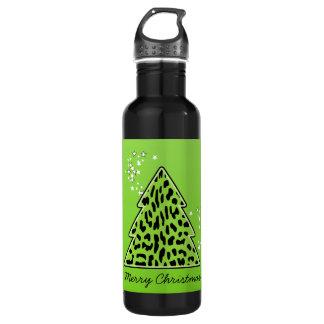 ヒョウのチータのクリスマスツリー ウォーターボトル