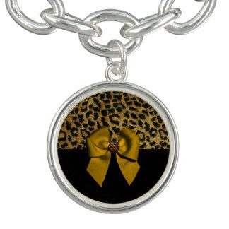 ヒョウのプリントおよび宝石で飾られた弓 チャームブレス