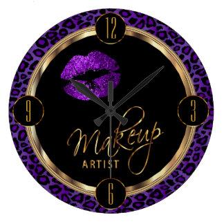 ヒョウのプリントが付いているメーキャップアーティストの紫色の唇 ラージ壁時計