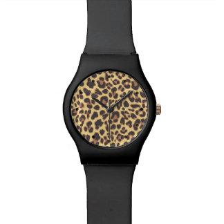 ヒョウのプリントのアニマル・スキンパターン 腕時計