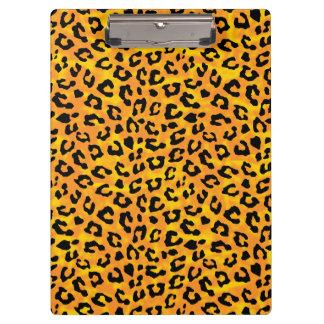 ヒョウのプリントのオレンジ黄色のベクトルプリント クリップボード