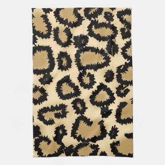 ヒョウのプリントのパターン、ブラウンおよび黒 キッチンタオル