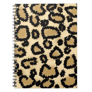 ヒョウのプリントのパターン、ブラウンおよび黒 ノートブック