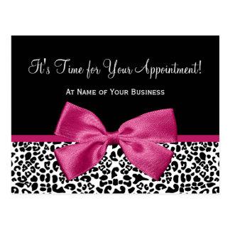 ヒョウのプリントのピンクの弓サロンのアポイントメントのメモ ポストカード