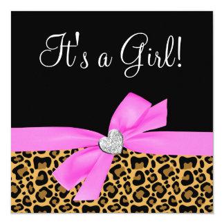 ヒョウのプリントのピンクの弓ダイヤモンドの女の子のベビーシャワー 13.3 スクエアインビテーションカード