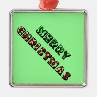 ヒョウのプリントのメリークリスマス メタルオーナメント