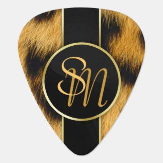 ヒョウのプリントの大切な金ゴールドのイニシャル-ギターピック ギターピック