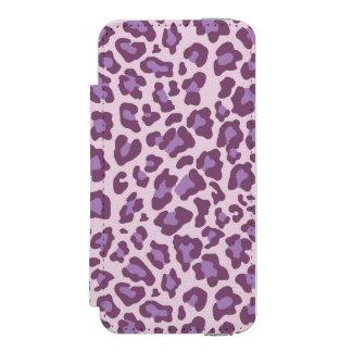 ヒョウのプリントの紫色およびラベンダー INCIPIO WATSON™ iPhone 5 財布 ケース