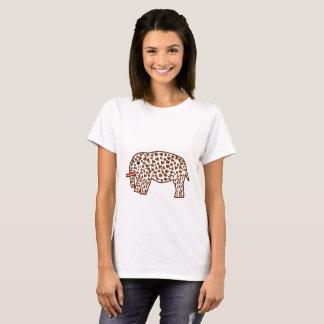 ヒョウのプリントの象 Tシャツ