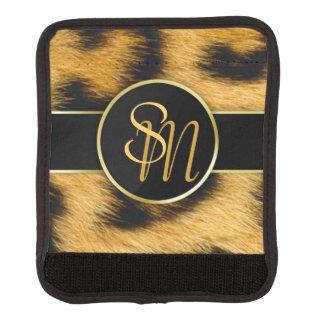 ヒョウのプリントの金ゴールドのイニシャル-ラゲージハンドルラップ ラゲッジ ハンドルラップ