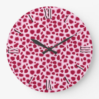 ヒョウのプリント-バーガンディおよびピンク ラージ壁時計