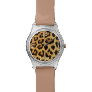 ヒョウの大きな猫のアフリカの野性生物ののどの毛皮 腕時計