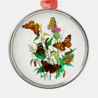 ヒョウの蝶及び幼虫及びピンクのアザミ メタルオーナメント