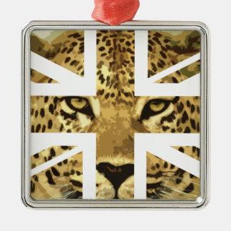 ヒョウの顔のジャック野生のイギリス(イギリス)の旗 メタルオーナメント