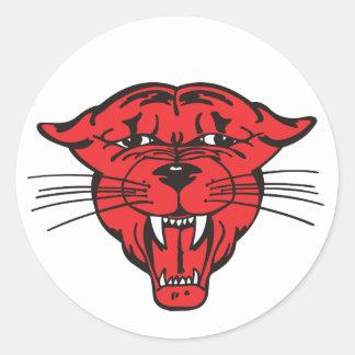 ヒョウの顔、赤01 ラウンドシール