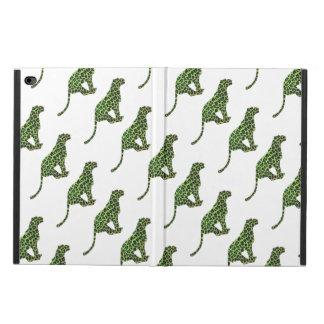 ヒョウの黒いおよび緑のシルエット POWIS iPad AIR 2 ケース