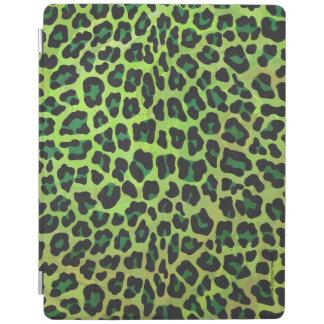 ヒョウの黒いおよび緑のプリント iPadスマートカバー