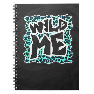 ヒョウの黒およびティール(緑がかった色)のプリント ノートブック
